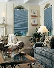 Pleated Shades/blinds mounted below arch in Delray Beach Florida