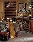 Rustic Horizontal Wood Blinds In bedroom -- Delray Beach Residence