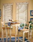 Horizontal White Wood Blinds with decorative tapes -- Tequesta Florida Kitchen