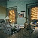 Shade Cornice with drapery panels in wood blinds -- Boynton Beach Florida Home