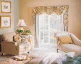 Vertical Blinds With Swag Valance In Beautiful Romantic Highland Beach Bedroom With Jabots