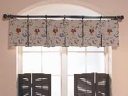 Close-up of box pleated pole mounted valance-- Delray Beach