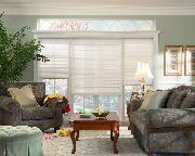 Hunter Douglas Pleated Shades/blinds  in living room traditional setting Lake Worth home in Florida