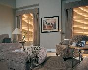 Horizontal Wood Blinds with decorative cornice and window panels-- Boynton Beach Home
