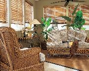 Horizontal Wood Blinds with tapes in wicker setting-- Boynton Beach Florida