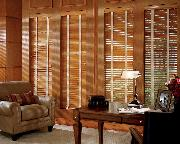 Hunter Douglas Horizontal Wood Blinds with contrasting white tapes-- Boynton Beach Florida