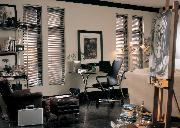 Gorgeous Black Horizontal Mini-Blinds mini blinds complement this office in Tequesta/Jupiter Florida