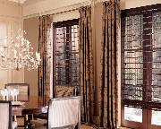 Woven wood Roman Flat Blinds/shades with drapery panels -- Jupiter Island Florida-- Dining room