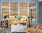 Light Bamboo Woven Wood Flat Roman Shade -- Lake Worth Florida