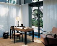 Luminette Shades/blinds opening to oceanfront view on Sliding Glass Doors  in Singer Island Florida