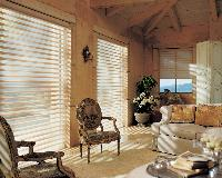 Traditional styled Living room -- Rustic look withPirouette Window Shades from Hunter Douglas-- Palm Beach gardens home -- Florida