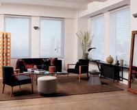 Silhouette Shades by Hunter Douglas featured in modern living room -- Lake Worth Florida