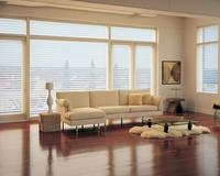 Modern living room in downtown West Palm Beach featuring Silhouette Shades