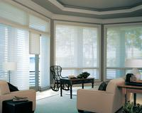 Hunter Douglas Silhouette shades covering transom in full Windows -- Intracoastal West Palm Beach Florida view