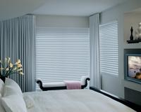 Room Darkening Silhouette Shades with modern drapery panels in a tranquil setting -- Jupiter/Tequesta Florida