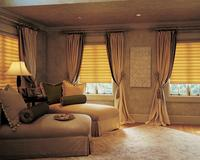 Hunter Douglas Vignette Flat Roman Shades with tied back drapery panels on wood rod-- South Palm Beach Florida