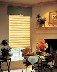 Singer Island Florida -- Linen Look Hunter Douglas Modern Roman Shade in Hobbled Version under Olive Modern Cornice