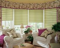 Vignette Modern Roman Shades in Bay window -- Lake Worth Florida