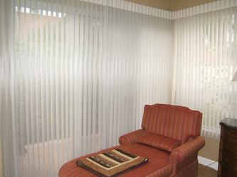 Sheer Panels Hunter Douglas Luminette Shades/Blinds flush mount at the corner -- Palm Beach Gardens Florida Residence