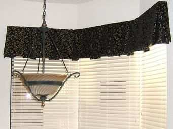 Box Pleated Valance and wood blinds in Wellington Florida Home
