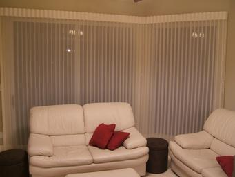 Hunter Douglas Luminette Sheer Shades/Blinds mounted to corner -- On Beach Gardens Residence