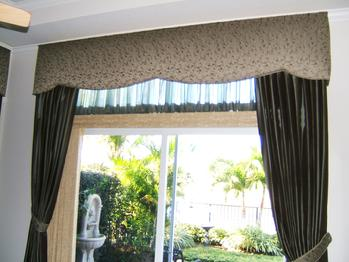 Sliding Door Treatment -- Cornice with tied back panels -- Boca Raton Home