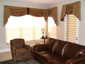 Swag Top Treatments with Hunter Douglas Silhouette sheer shades/blinds -- West Palm Beach