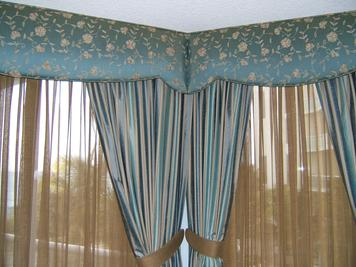 Cornices and Tied Back Drapery Drape Panels with colored sheers- Singer Island Oceanfront Residence