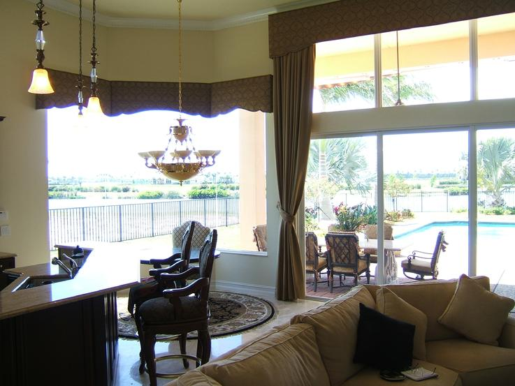 Solar Screen Shades and cornices on Bay window with pool exposure-- Jupiter Florida
