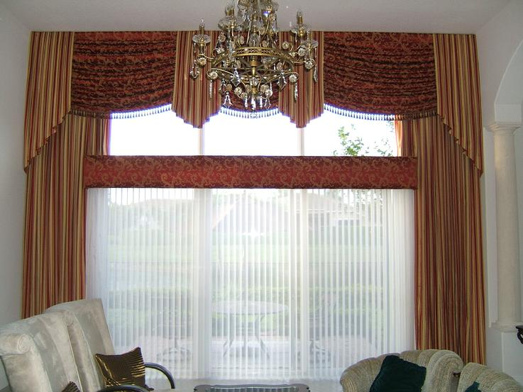 Drapery with Swag Top Treatment and Trim Luminette Sheer Shade/Blind below Cornice-- Palm Beach Gardens Residence
