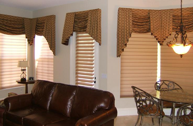 Hunter Douglas Sheer Silhouette Shades/Blinds with Swag Top Treatment -- Breakers West, West Palm Beach