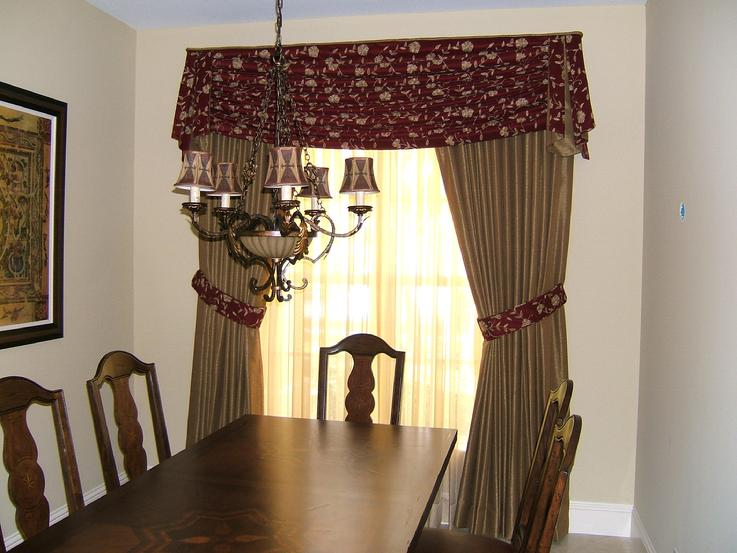 Drape Sheers and Tied Back Drapery Panels In Dining Room in West Palm Beach Florida Home